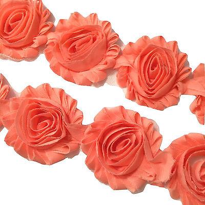 "1//2 yard mauve 2.5/"" shabby chiffon rose trim flowers DIY baby headband"
