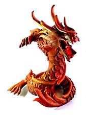 Dragon Figurine Sculpture Handmade & Painted Oriental Decor Driftwood Sawdust