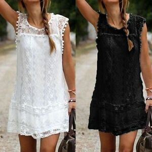 df4a374d5613 Women s Lace Sleeveless Party Evening Cocktail Beach Casual Dress ...