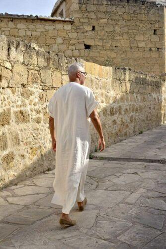COOFANDY Men/'s V-Neck Linen Robe Short Sleeve Kaftan Thobe Long Gown Casual Shir