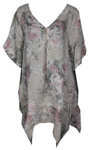 Womens-Italian-Lagenlook-Quirlky-3Button-V-Neck-Floral-Linen-Plus-Size-Tunic-Top