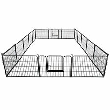 "24"" Dog Playpen Crate 16 Panel Fence Pet Play Pen Exercise Puppy Kennel Cage"