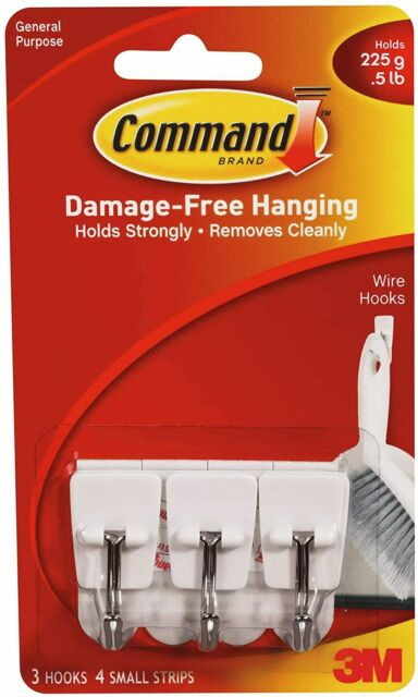 Small Command Wire Hooks 3-Hooks 17067ES White