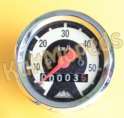 Simson Tachometer Tacho SR2 E KR50 SR4 Spatz 60km/h KR51 elfenbein chrom Habicht
