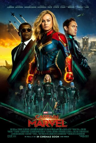 "3 Sizes Movie Poster 2019 Marvel Studio/'s /""Captain Marvel/"" With Brie Larson"