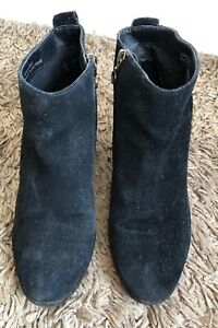 Topshop Black Suede Ankle Boots With
