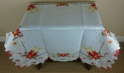 """White Embroidery Christmas Red Candle Table Topper 33x33/"""" Square Tablecloth"""