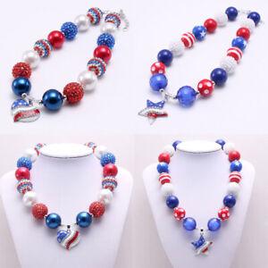 Bubblegum-Beads-American-National-Flag-Crystal-Star-Heart-Pendant-Kid-Necklace