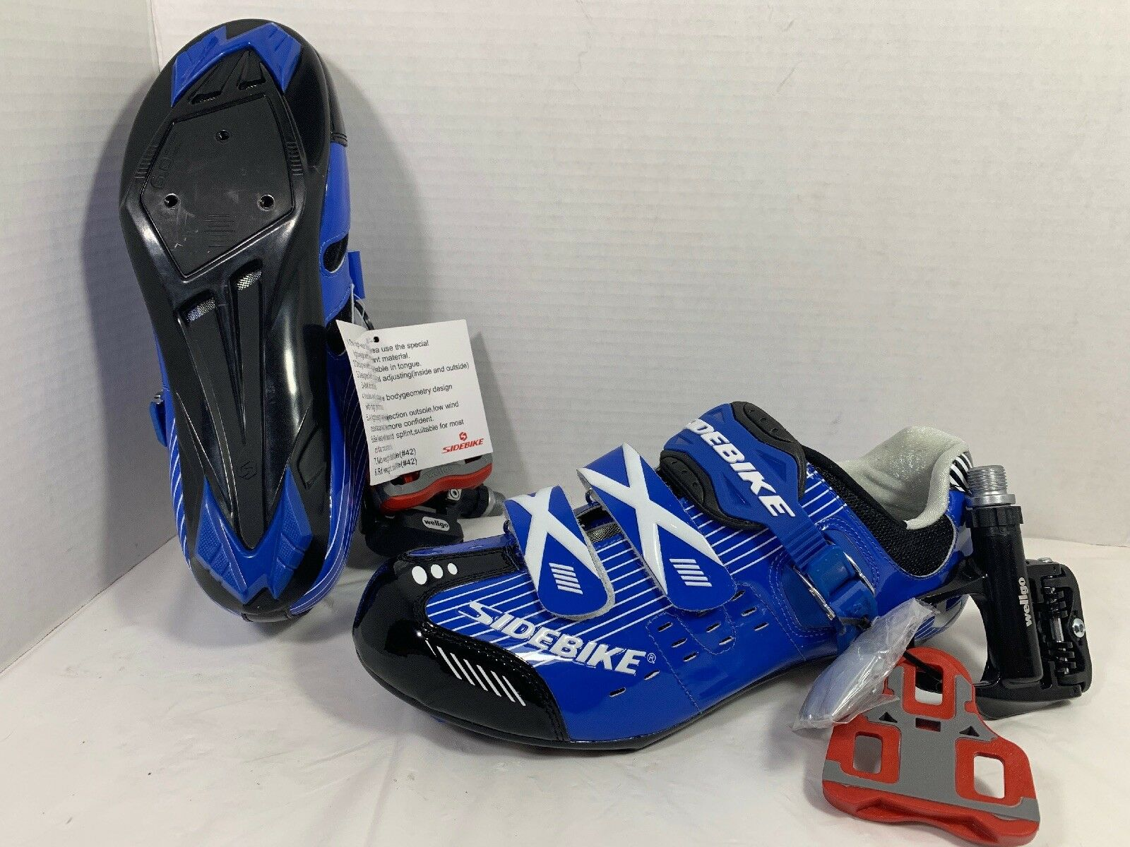 SIDEBIKE Men's Outdoor Road  Bike Cycling shoes Wellgo Pedal Cleats bluee New  get the latest