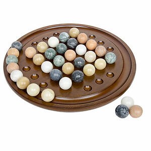 Details About Solitaire Hand Crafted Wooden Game With Marbles Arolly Exclusive Brand