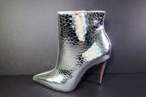 b8c9654ec92 Details about Louboutin 38.5 SO KATE BOOTY 100 Silver metallic leather  ankle boot booties New