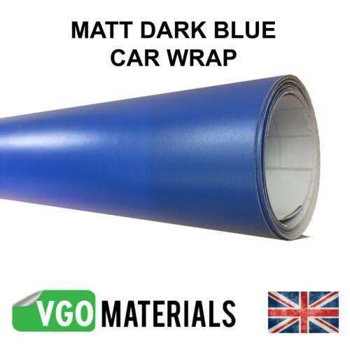 Vgoltd Bleu Foncé Mat Wrap Air Libération Sans Bulles Voiture Moto 152 cm x 60 cm
