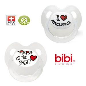 Bibi-Beruhigungsschnuller-034-I-Love-Mama-034-034-Papa-is-the-Best-034-Basic-Care