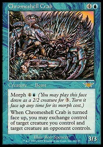 1x Chromeshell Crab Legions MtG Magic Blue Rare 1 x1 Card Cards