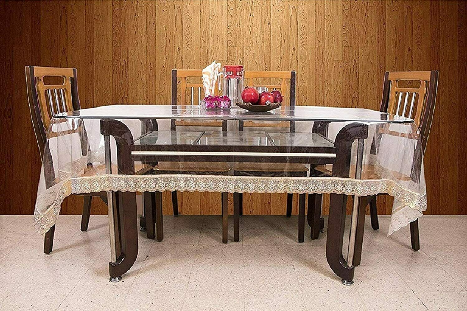 Oval Shape Plastic Transparent 6 Seater Dining Table Cover With Golden Lace For Sale Online Ebay