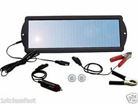 WEATHERPROOF 1.5W 12VOLT SOLAR PANEL 12V BATTERY CHARGER MAINTAINER W 2 ADAPTERS