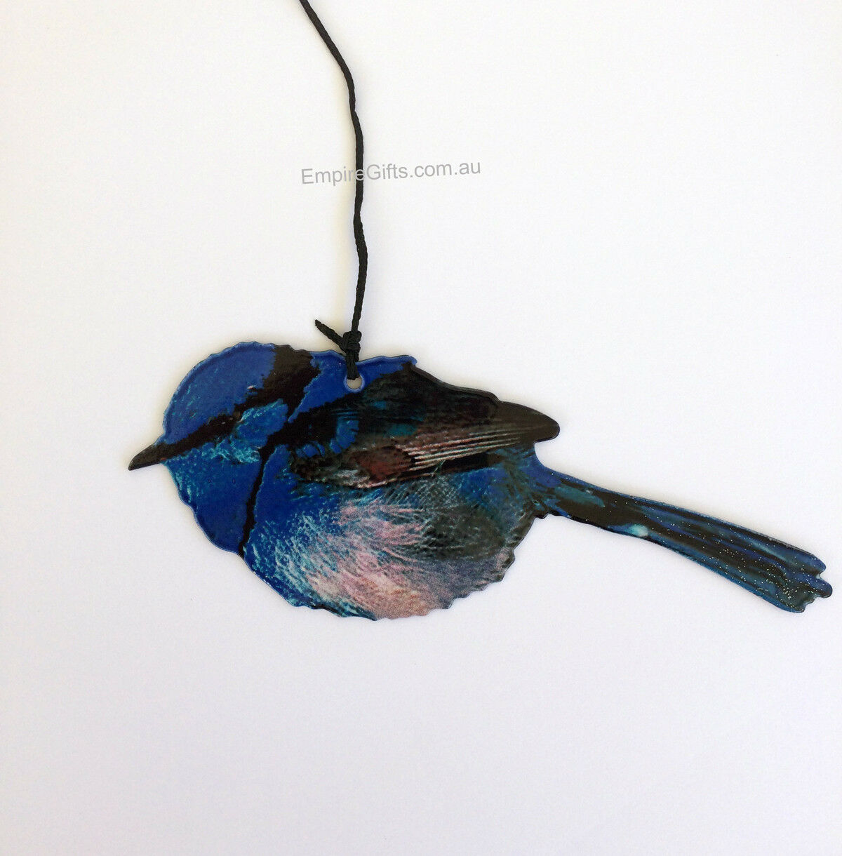 (1) 8 Blue Fairy Wren Metal Wind Chime Hanging Birds Natures Melody