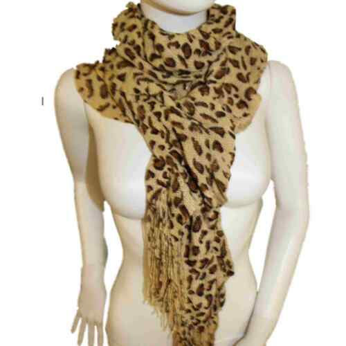 Ladies Womens Animal Leopard Print Super Soft Spiral Ruffle Dress Scarf