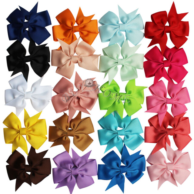 20PCS Grosgrain Ribbon Bow Hair Clip Pin Aligator Headband Flower Baby Girl Kids
