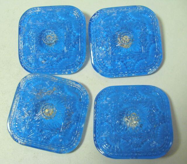 """4 - VINTAGE CZECH GLASS BUTTONS 1 5/16"""" BLUE"""