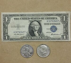 1935-1-00-Silver-Certificate-SILVER-Walking-Liberty-amp-Kennedy-Half-OLD-COINS
