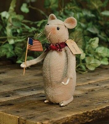 Primitive County`Americana`Patriotic Standing Mouse Doll`with Flag`Firecracker