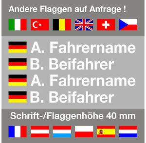 4 x Aufkleber Name+Flagge Rallye Racing   Kart   DTM   42,0 mm Schrifthöhe   TOP