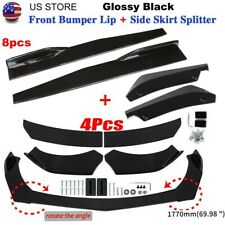 Glossy Black Front Bumper Spoiler Body Kit Side Skirt Rear Lip For Universal Fits 1991 Honda Civic