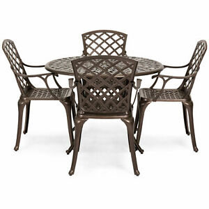 5 Pcs Set Cast Aluminum Patio Dining Chair Table Furniture Outdoor