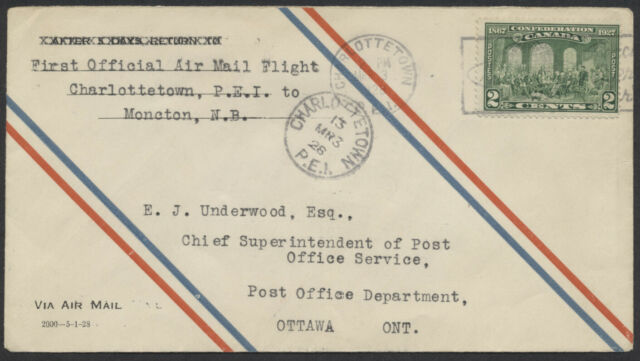 1928 AAMC #2807a Charlottetown to Moncton Mar 3rd Flight, 1st CPO Air Mail Envel