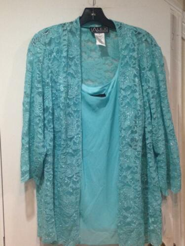 Alex Evenings Mother Of Bride Groom Women/'s Shimmering Lace jacket/&top plus1X 2X