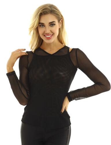 Women Mesh T-Shirt Top Sheer Blouse See Through Crop Top Yoya Sport Running Tops
