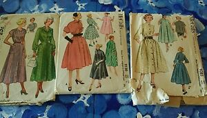 Lot of 3 Vintage Womens Patterns McCalls 1940s 50s Dress coat Negligee