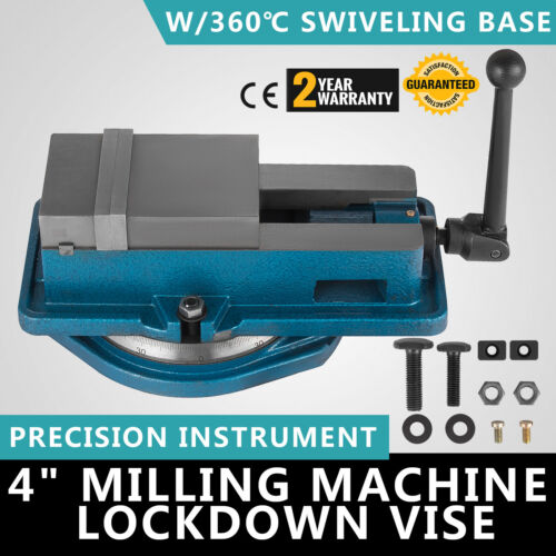 "4/"" Milling Machine Lockdown Vise 360° Swiveling Base Drilling High Precision"