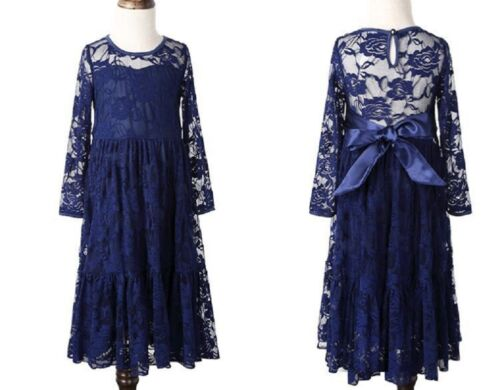 White Ivory Navy Lace Long Flower Girl Dress Birthday Wedding Communion Ship USA