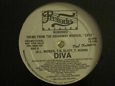 """DIVA MEMORIES (THEME FROM BROADWAY MUSICAL """"CATS"""") 12"""" 83 PRELUDE PROMO DISCO VG"""