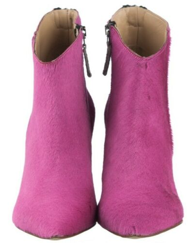 Stivali 40 Stivaletti Italy caviglia alla Pony Pink Leather Shoes Fuxia Stiefel Mori Made OYgqw7