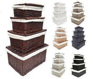schwarz wei grau mit deckel korbweide aufbewahrung spielzeugkiste leere ebay. Black Bedroom Furniture Sets. Home Design Ideas