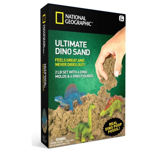 National Geographic Ultimate Dinosaur Play Sand 2 LBS of Sand 6 6 Molds