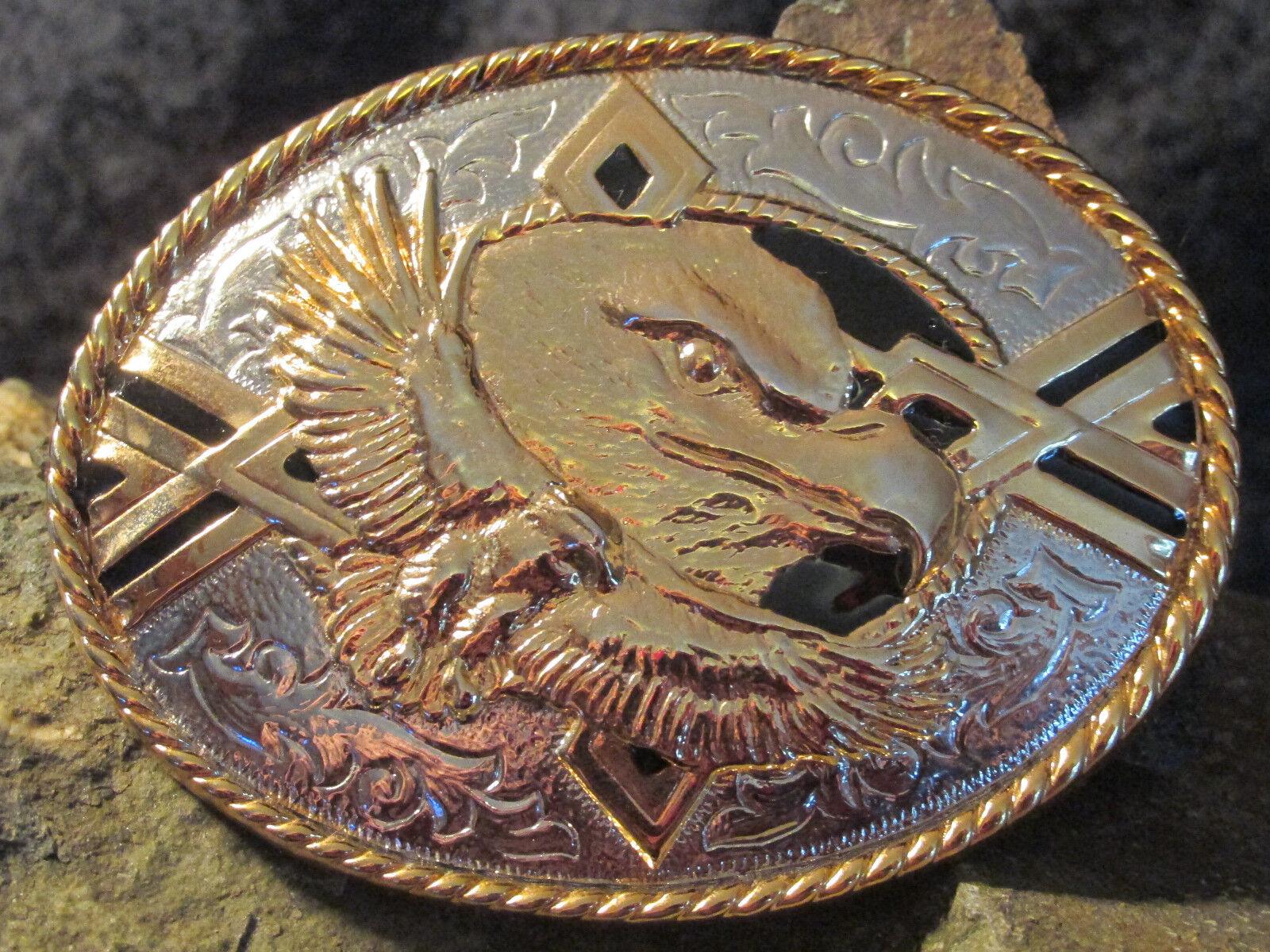 # 0290 Belt Buckle, Buckle, Gold Edge, Eagle Head, Flying Eagle
