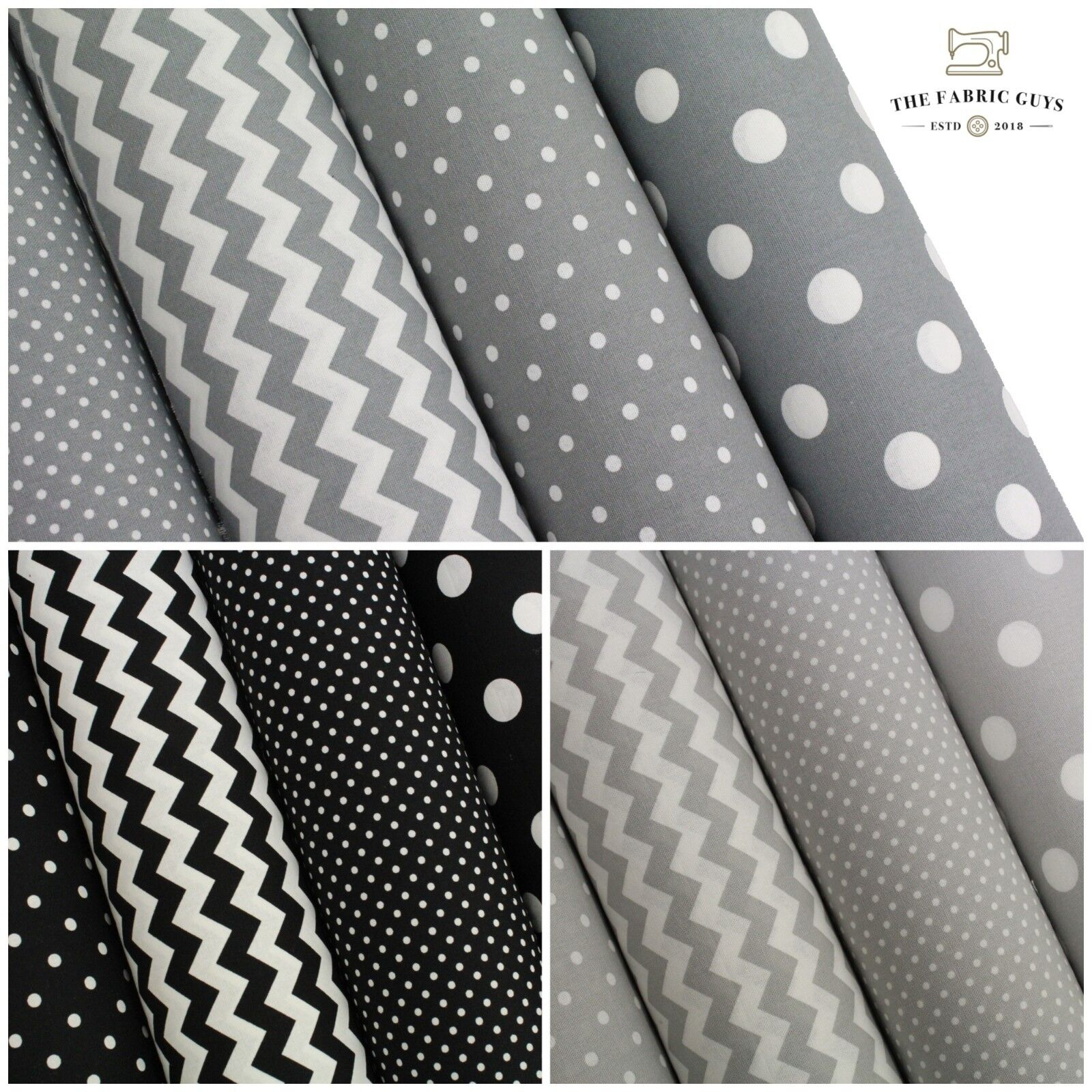 "Cotton Upholstery Canvas Fabric Spots Dot Chevron Dark Grey 45/"" High Quality"
