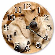 "10.5"" TWO GOLDEN RETRIEVERS CLOCK Large 10.5"" Wall Clock Home Décor Clock - 3151"