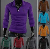 New Fashion Mens Summer Slim Fit Casual Long Sleeve POLO Shirts T-shirt Tee Tops