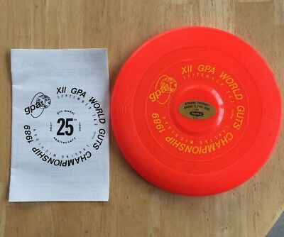 Wham-O brand Frisbee from the 1983 6th GPA World Guts Frisbee Championships