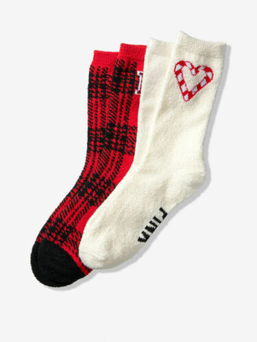 Details about  /Victoria/'s Secret Red Candy Cane Heart on White Fuzzy Socks Houndstooth Set NIB