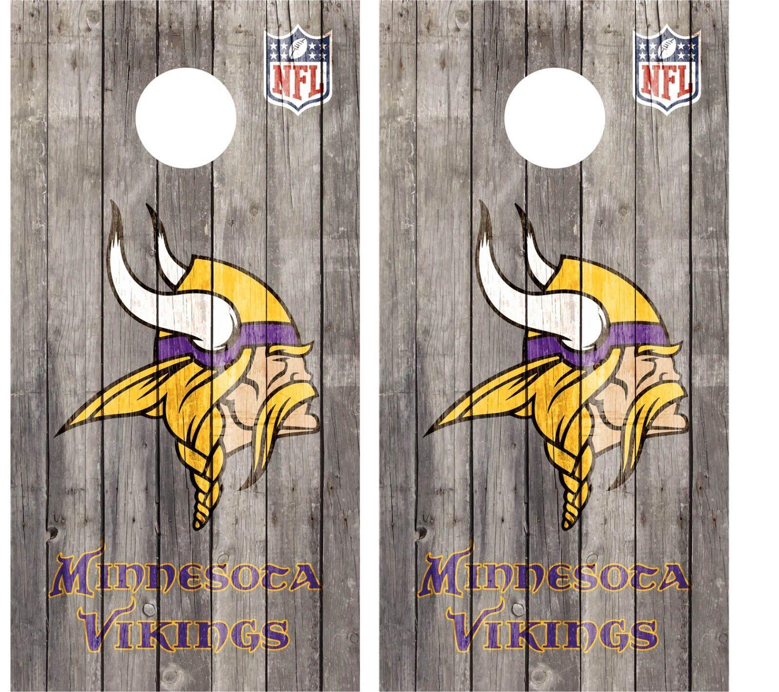 Pair of Minnesota Vikings NFL Wood Cornhole Board Vinyl  Decal Wrap Wraps  ultra-low prices