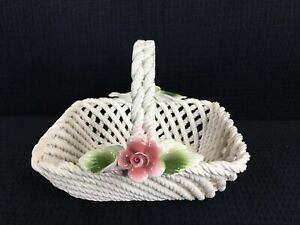 Lanzarin-Ceramic-Woven-Basket-With-Roses-Vintage-Art-Pottery-Hand-Made-In-Italy