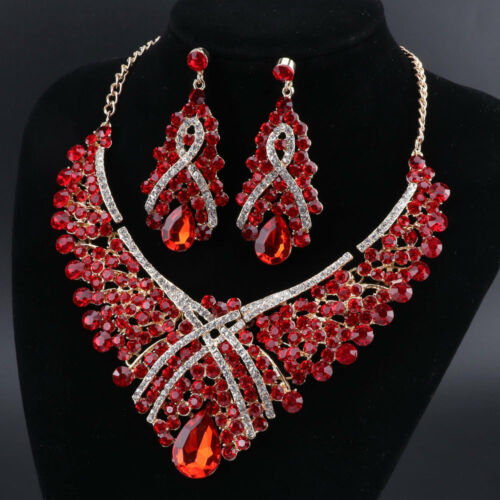Austrian Crystal Bridal Floral Wave Teardrop Necklace Earrings Jewelry Set Boxes