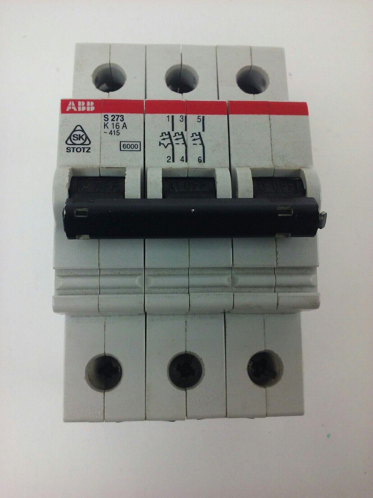 K 16A *PZB* ABB 3-POLE 277//480VAC CIRCUIT BREAKER S 273