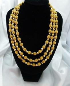 Vintage CROWN TRIFARI 1960S Three Strand Gold-tone ELECTRA Necklace